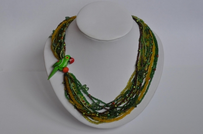 """Necklace """"A Green Parrot"""""""